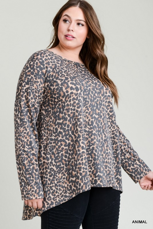 Jodifl Plus Size Leopard Print Hi-Lo Cross Back Top