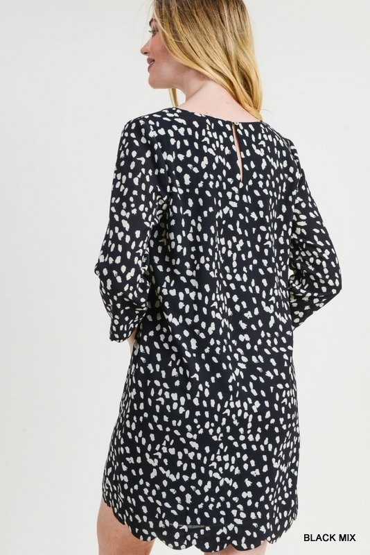 Jodifl Polka Dot 3/4 Sleeve Scalloped Keyhole Dress