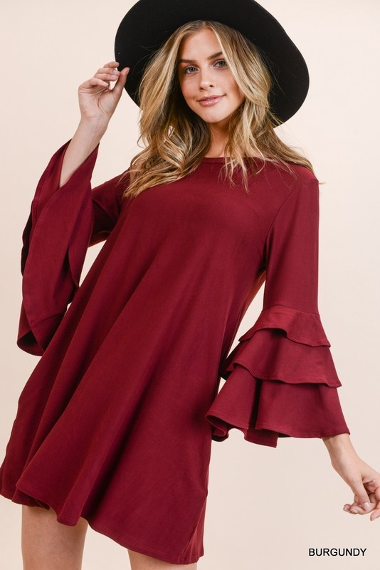 Jodifl Solid Tiered Bell Sleeve Dress with Pockets