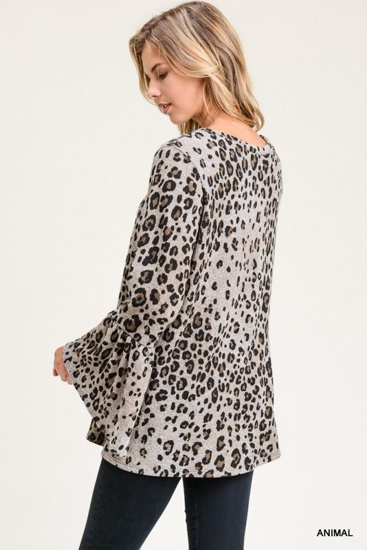 Jodifl Leopard Bell Sleeve Top