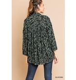 Umgee Animal Print Long Sleeve V-Neck Tunic