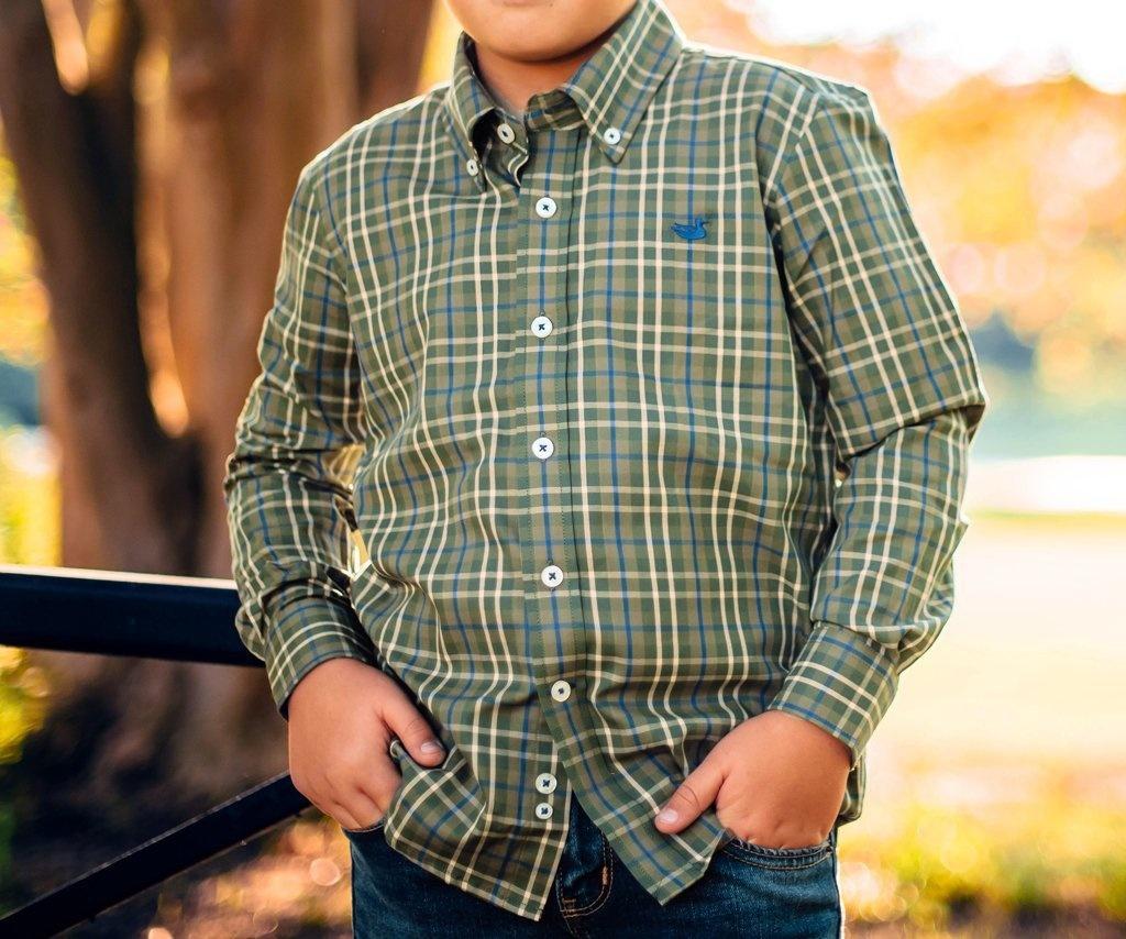 Southern Marsh Youth King Windowpane Dress Shirt