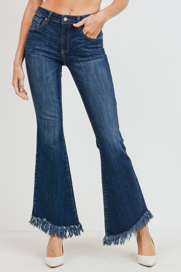 tricot Mid-Rise Long Fray Hem Flare Jeans