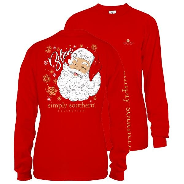 Simply Southern Collection YOUTH SANTA BELIEVE LONG SLEEVE T-SHIRT