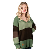 Simply Southern Collection DISTRESSED STRIPE SWEATER