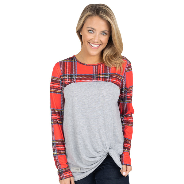 Simply Southern Collection Red and Grey Plaid Knot Top