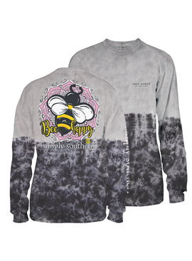 Simply Southern Collection Youth - Bee Happy Long Sleeve T-Shirt - Smokey