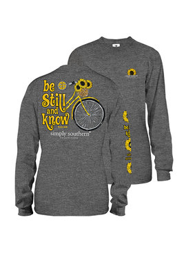 Simply Southern Collection Youth - Be Still Long Sleeve T-Shirt - Dark Heather Grey
