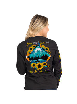 Simply Southern Collection Youth - Starry Lights Long Sleeve T-Shirt - Black