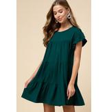Scoop-Neck Tiered Dress