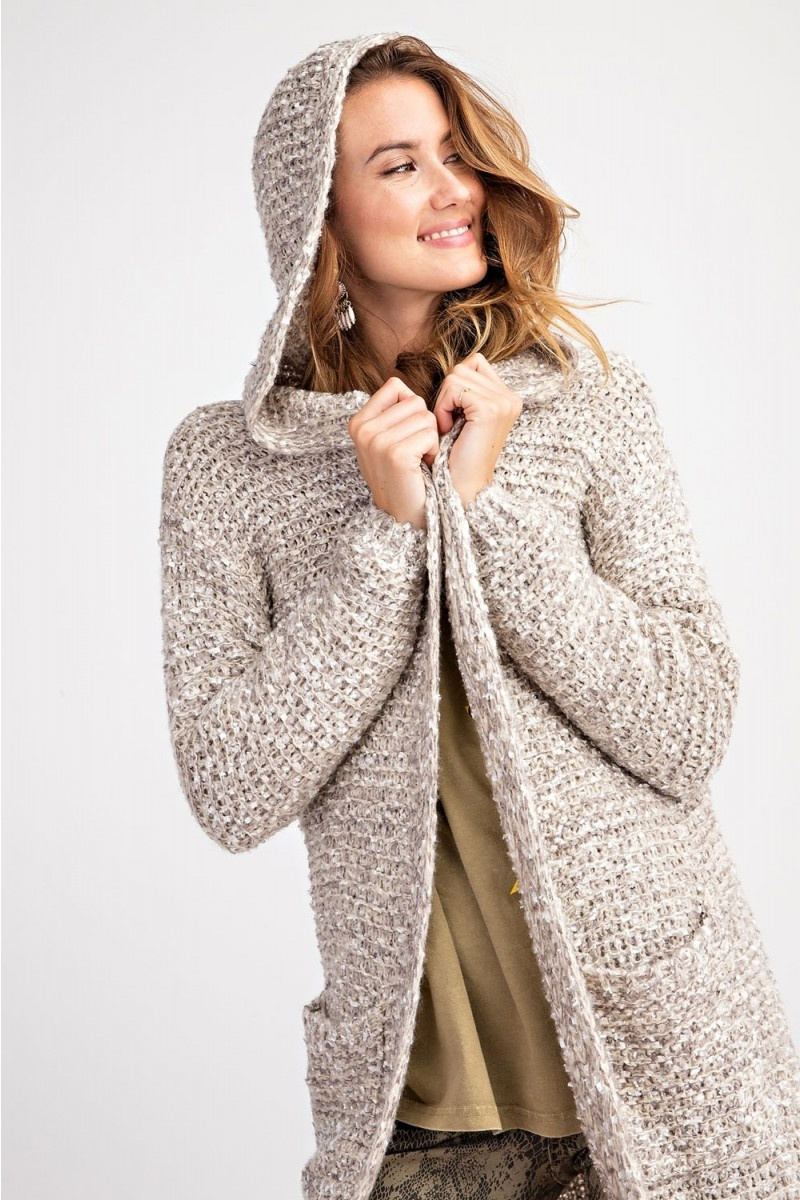 KNIT SWEATER HOODIE