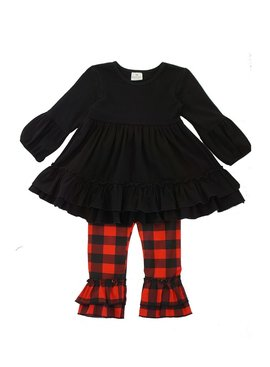 Honeydew Black red plaid ruffle set
