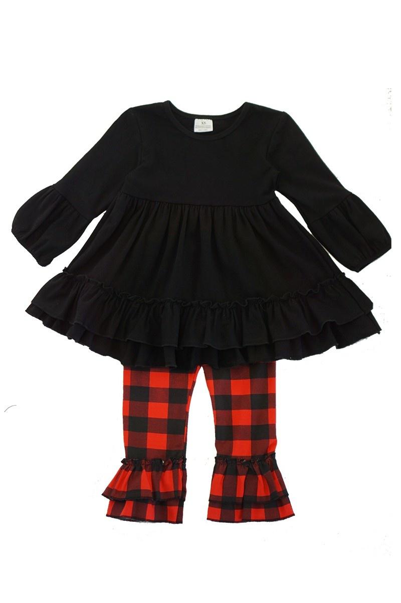 Black red plaid ruffle set