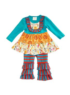 Honeydew Blue orange ruffle set
