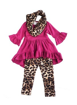 Fuchisia tunic leopard print pants scarf 3 pcs set