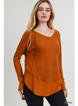 Jodifl Long Sleeve Waffle Knit Thermal Top