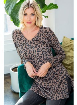 Leopard print v neck tunic
