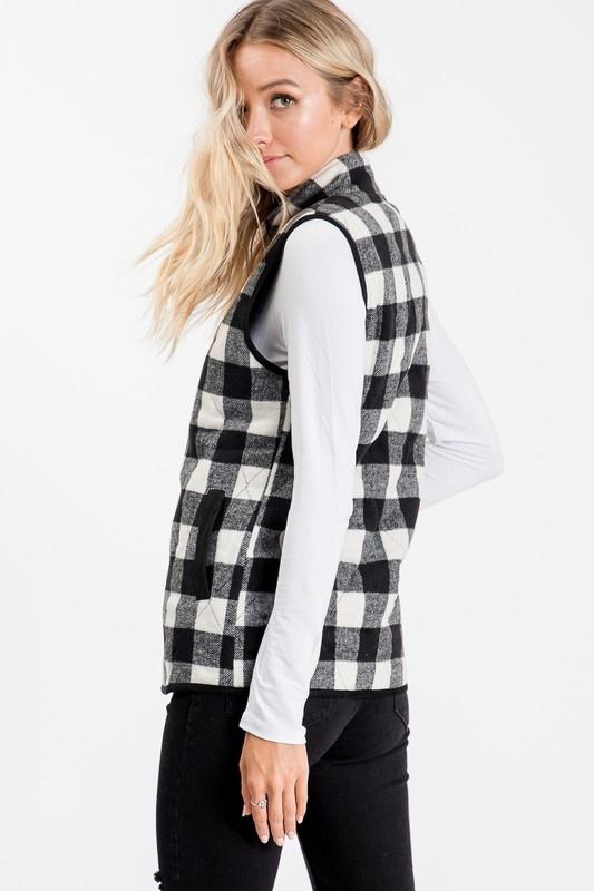 Plaid Quilted Zip-up Vest