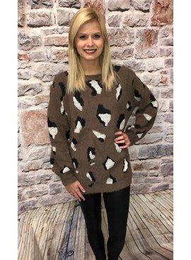 Jodifl Fuzzy Leopard Print Pullover