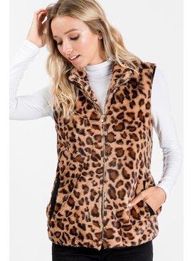 Sweet Lovely by Jen Leopard Fuzzy Vest