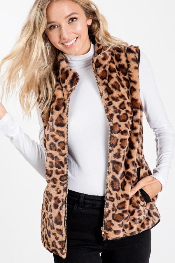Leopard Fuzzy Vest