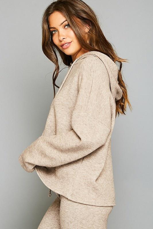 Peach Love Cream California Extra Soft Hooded Knit Top