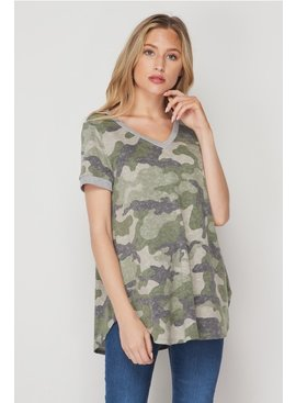 Honeyme Camo Short Sleeve Top