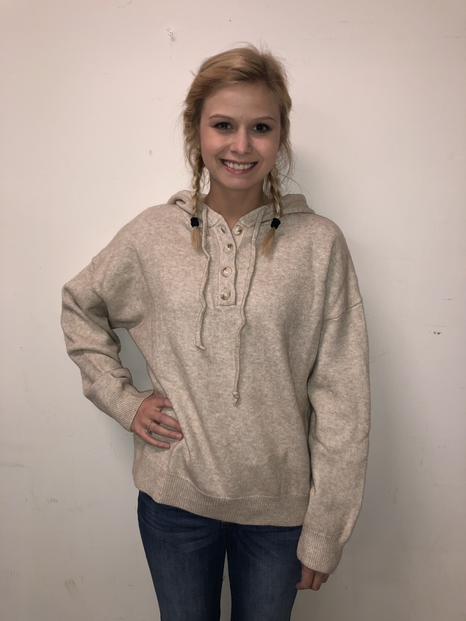 Long knit hoodie with button detail