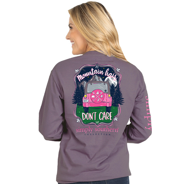 Simply Southern Collection Mountain Hair Don't Care LS Shirt