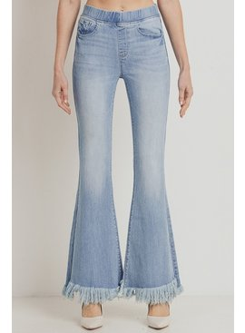 tricot Elastic Banded Mid-Rise With Long Fray Flare Jeans