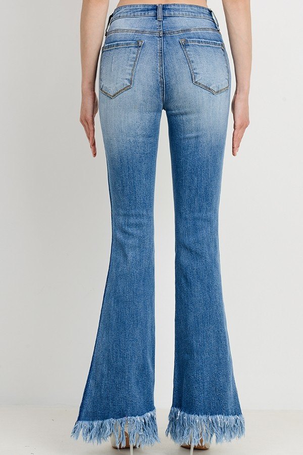 Tricot by C'est Tol Contrast Washed Frayed Flare Jeans
