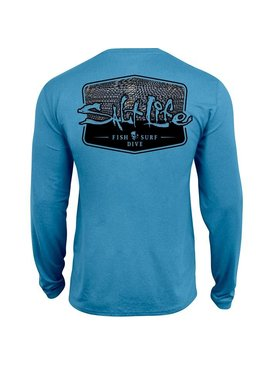 Salt Life Metal Scales Badge Performance Long Sleeve Pocket Tee