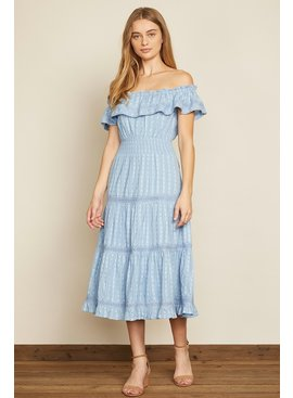 dress forum Off-the-Shoulder Tiered Midi Dress