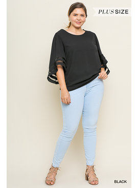 Umgee Bell Sleeve Round Neck Top
