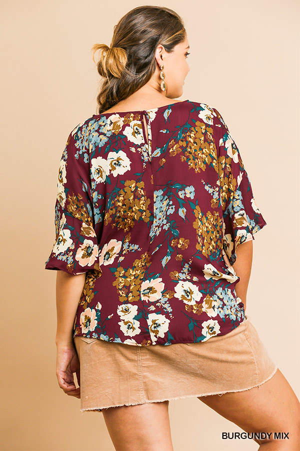 Umgee Floral Print V-Neck Top