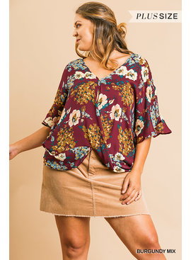 Umgee Floral Print V-Neck Top
