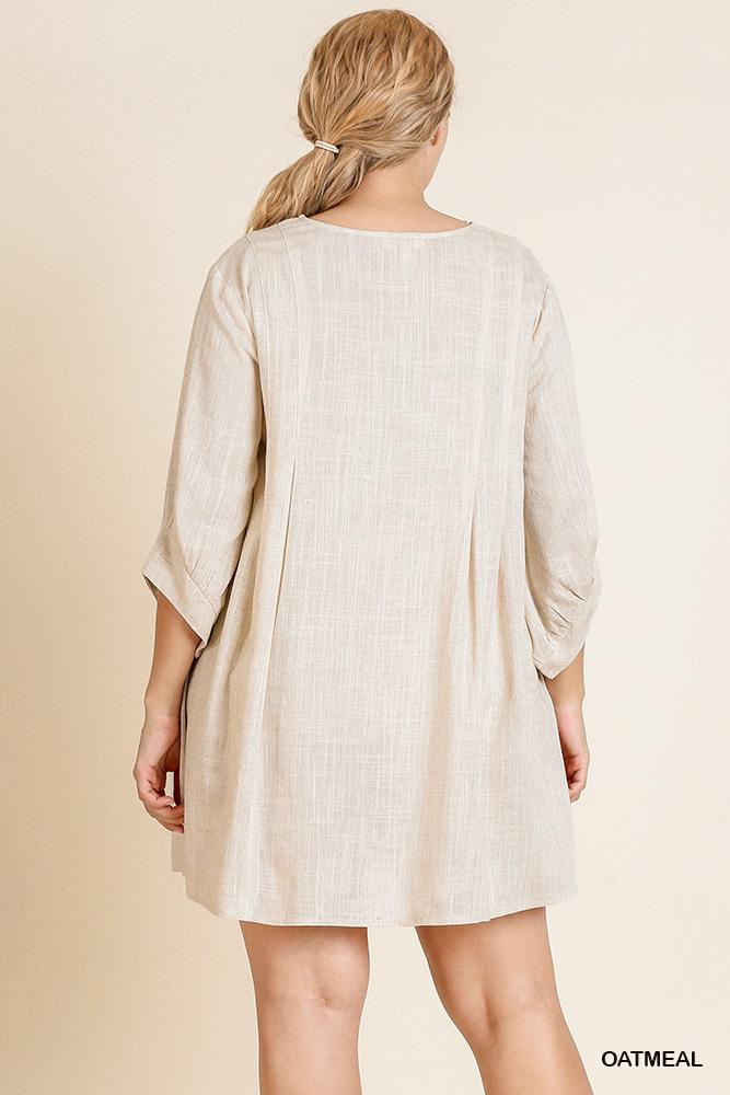 Umgee 3/4 Puff Sleeve Dress