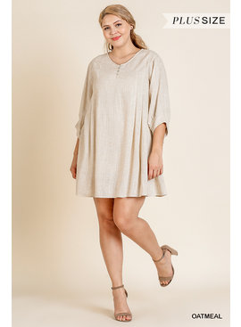 Umgee 3/4 Puff Sleeve Dress