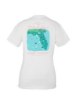 Simply Southern Collection State Of Mind Florida Short Sleeve T-Shirt - White