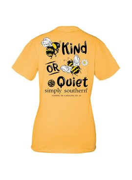 Simply Southern Collection Youth Bee Kind or Bee Quiet Short Sleeve T-Shirt - Mustard