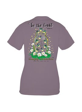 Simply Southern Collection Youth - Be the Light Mason Jar Short Sleeve T-Shirt - Plum