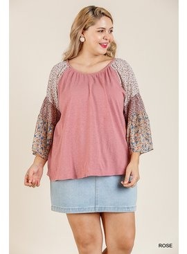 Umgee Sheer Round Neck Top
