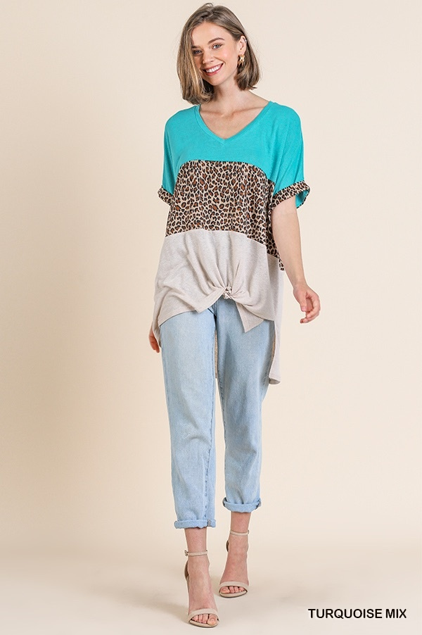 Umgee Colorblocked V-neck Top