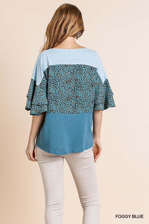 Umgee Animal Print Colorblock Top