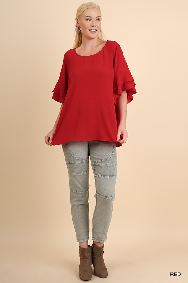 Umgee Ruffle Sleeve Round Neck Top