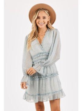 Ruffled V-Neck Seam Dress