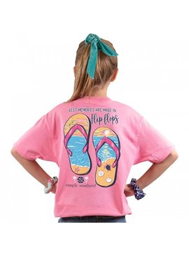 Simply Southern Collection Youth Flip Flop Short Sleeve T-Shirt - Flamingo