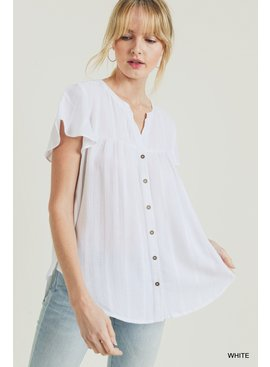Jodifl Solid Collarless Bell Sleeve Top