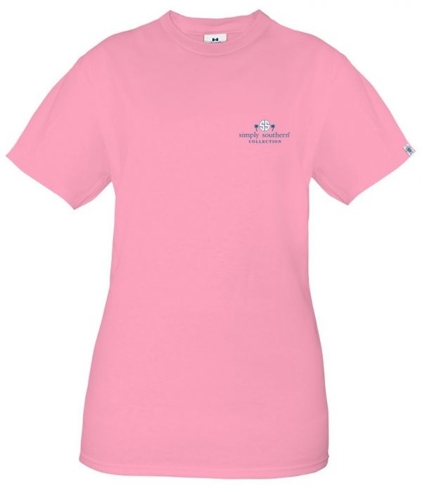 Simply Southern Collection Preppy LOGO Short Sleeve T-Shirt -Flamingo