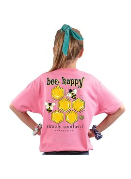 Simply Southern Collection Youth Bee Happy Short Sleeve T-Shirt Flamingo